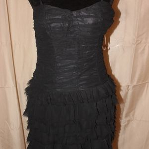 Black Ruffled Spaghetti Strap Dress